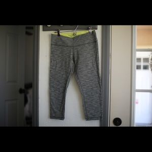 Grey lulu cropped leggings with lime green hem